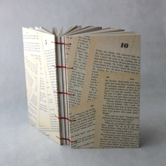 Recycled Text Journal from Jaws Book