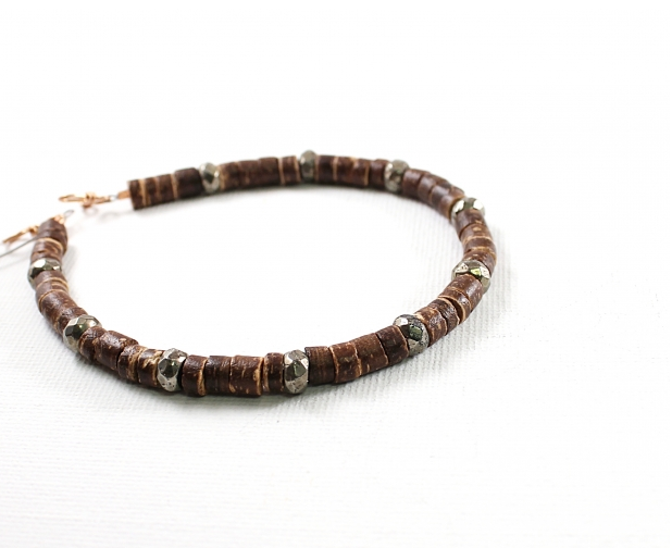 Men's Bamboo Bracelet with Pyrite