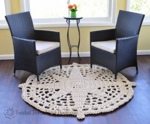 Nautical Home Decor - Compass Star Circle Rope Rug