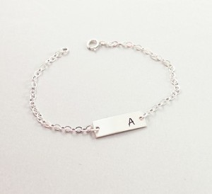Personalized Jewelry Gift Ideas - A Sterling Silver Personalized Bar Bracelet with Initial: http://aftcra.com/naturelook/listing/6210/sterling-silver-personalized-bar-bracelet-initial-bracelet