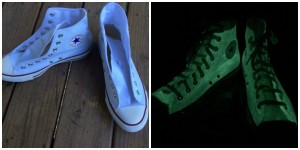 Unique Fathers Day Gift Ideas - GLow in the dark converse sneakers - handcrafted - American Made - aftcra