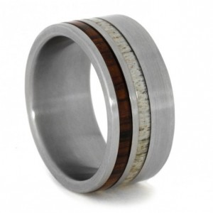 Unique Fathers Day Gift Ideas - Interchangeable Ring with Deer Antler and Cocobolo Wood inlays in Titanium - handcrafted - American Made - aftcra.jpg