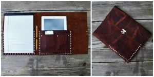 Unique Fathers Day Gift Ideas - Leather iPad Portfolio with Notebook - handcrafted - American Made - aftcra