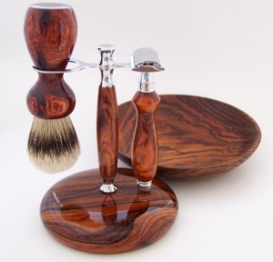 Unique Fathers Day Gift Ideas - Old-Fashioned Cocobolo Wooden Shaving Set - handcrafted - American Made - aftcra