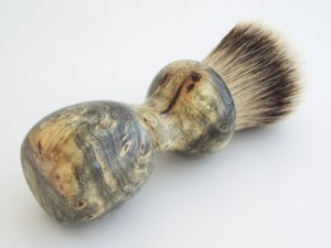 Unique Fathers Day Gift Ideas - Old-Fashioned Silvertipe Shaving Brush Buckeye Burl Wood - handcrafted - American Made - aftcra