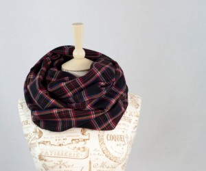 Black Plaid Infinity Fall and Winter Scarf