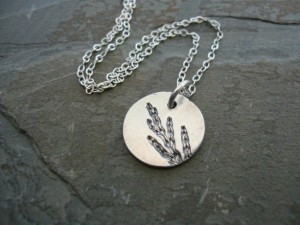 Christmas 2015 Gifts for Her - Dainty botanical leaf imprint silver necklace