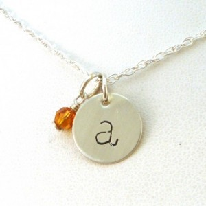 Christmas 2015 Gifts for Her - Lowercase Initial Necklace with Birthstone
