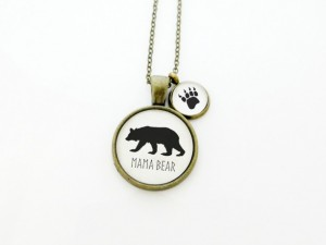 Christmas 2015 Gifts for Her - Mama Bear Handcrafted Pendant Necklace