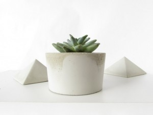 Christmas 2015 Gifts for Her - Modern Grey and Silver Industrial Concrete Planter