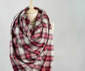 Christmas 2015 Gifts for Her - Red Plaid Blanket Fall Winter Scarf