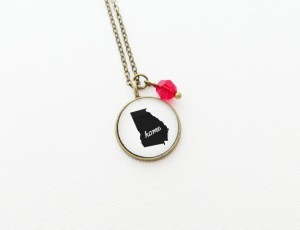 Christmas 2015 Gifts for Her - State Pendant with Charm