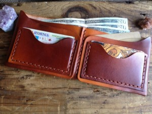 Christmas 2015 Gifts for Him - Handmade Leather Bifold Wallet Customized cognac nude leather