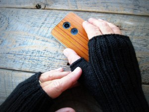 Christmas 2015 Gifts for Him - Mens black wool fingerless gloves, made to order