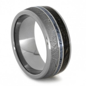 Christmas 2015 Gifts for Him - Mokume Gane Cobalt Ring with Dinosaur Bone and Meteorite in a Titanium