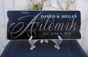 Unique Christmas 2015 Gifts - All Handmade and USA Made - 18x8 Custom Family Name Sign - Rustic Wedding Sign with Establis