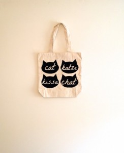 Unique Christmas 2015 Gifts - All Handmade and USA Made - Black Cat head tote bag, french, le chat, german, reusable canvas