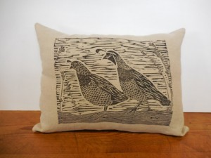 Unique Christmas 2015 Gifts - All Handmade and USA Made - Block Print Decorative Throw Pillow - Quail Print Cushion Cover
