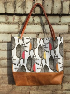 Unique Christmas 2015 Gifts - All Handmade and USA Made - Hipster Fox Print Canvas Leather Tote Bag - Cotton and Leather Tote Bag