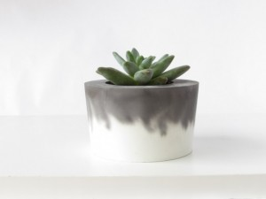 Unique Christmas 2015 Gifts - All Handmade and USA Made - Modern Industrial Black and White Concrete Planter