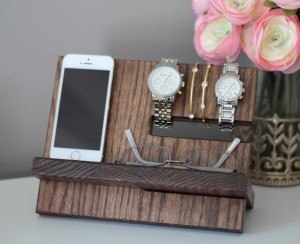 Unique Christmas 2015 Gifts - All Handmade and USA Made - Oak Wood Valet Charging Stand Nightstand Dock Birthday