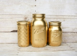 Unique Christmas 2015 Gifts - All Handmade and USA Made - Painted Mason Jars - Gold Jars- Wedding Centerpiece - Home Decor