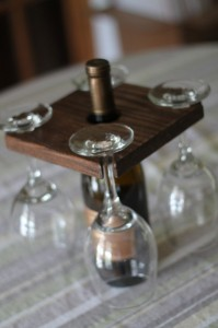 Unique Christmas 2015 Gifts - All Handmade and USA Made - Stained Natural Wood Wine Bottle and Glass Holder Oak