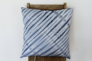 Unique Christmas 2015 Gifts - All Handmade and USA Made - Striped Indigo Shibori Pillow Cover- Navy Blue Throw Pillow Cover