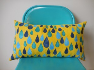 Unique Christmas 2015 Gifts - All Handmade and USA Made - Yellow and Turquoise Raindrop Pillow - 12x22 Lumbar cushion
