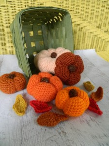 Amy Oestreicher - Allspice and Acrylics - Christmas 2015 Gift Ideas Nine Amazing Artisanal Handmade Christmas Gifts - Crocheted Autumn Rustic Pumpkins and Fall Leaves for Mantle Decor
