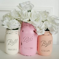Homemade Gifts for the Holidays01 Painted Distressed Mason Jars - Pink, Cream and Coral Jars