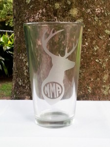 Jamie Cassidy of Voluntown Housewife - 3 Awesome Themed Gift Basket Ideas for Christmas 2015 Gift Ideas - Deer Monogram Glass,Etched Beer Glass, Rustic Hunters Monogram