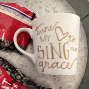 Jamie Cassidy of Voluntown Housewife - 3 Awesome Themed Gift Basket Ideas for Christmas 2015 Gift Ideas - Tune My Heart To Sing Thy Grace Hand Painted 16 oz Mug
