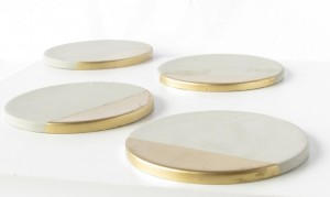 Lindsey Verity Web Solution - Handmade gifts to warm her heart Christmas 2015 Gift Ideas for her - American Made gift ideas - Concrete Coasters with Gold SEt of Four