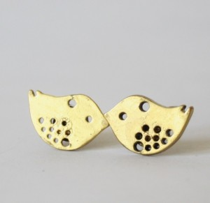 Lindsey Verity Web Solution - Handmade gifts to warm her heart Christmas 2015 Gift Ideas for her - American Made gift ideas - Little Gold Bird Post Earring Stud Nature Inspired Aviary Spring