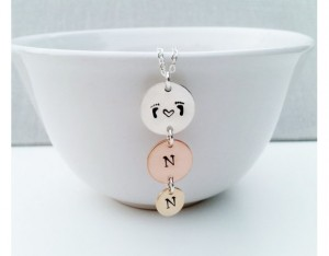 Family Necklace with Three Hand Stamped Initial Disc Pendant
