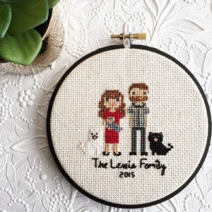 Valentines Gifts for Her - Handmade Gifts American Made Gift Ideas - Wife Gift - Girlfriend Gift - Custom Cross-Stitch Family Portrait