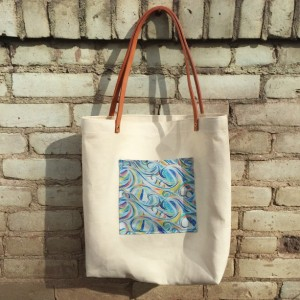 Valentines Gifts for Her - Handmade Gifts American Made Gift Ideas - Wife Gift - Girlfriend Gift - Hemp canvas tote with leather straps, ocean wave print pocket