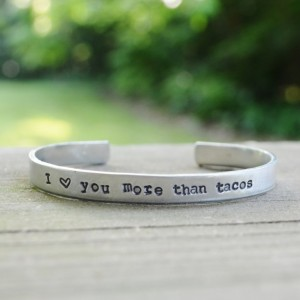 Valentines Gifts for Her - Handmade Gifts American Made Gift Ideas - Wife Gift - Girlfriend Gift - I love you more than tacos bracelet
