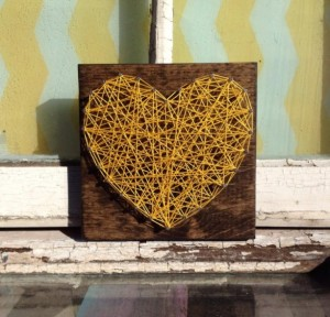 Valentines Gifts for Her - Handmade Gifts American Made Gift Ideas - Wife Gift - Girlfriend Gift - Nail and String Art Heart in Yellow on Stained Wood 01
