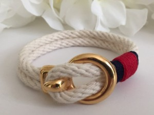Valentines Gifts for Her - Handmade Gifts American Made Gift Ideas - Wife Gift - Girlfriend Gift - Nautical White Rope with Gold Clasp Bracelet
