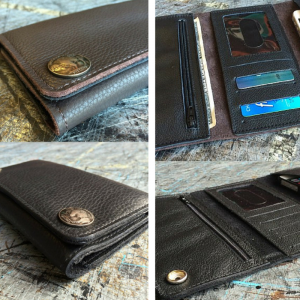 Valentines Gifts for Him - Handmade Gifts American Made Gift Ideas - Husband Gift - Boyfriend Gift - Mens Leather Black or Brown Deluxe Trifold Wallet and iPhone Carrier