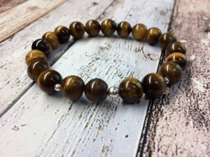 Valentines Gifts for Him - Handmade Gifts American Made Gift Ideas - Husband Gift - Boyfriend Gift - Mens tiger eye sterling silver bracelet