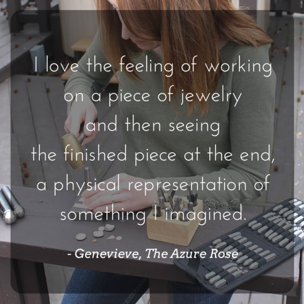 Meet the Maker - Genevieve of The Azure Rose on aftcra - Handmade Jewelry Made in the USA Hand Stamped Personal Custom Necklaces Dog Tags Keychains 06