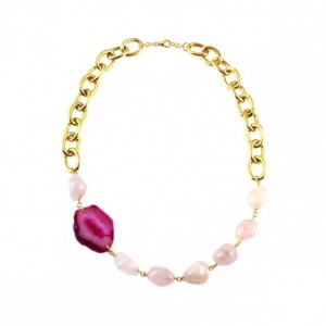 Agate Sliced Hot Pink, Magenta and Fuchsia Necklace