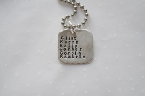 Handmade Mothers Day Gifts - Children Hand-stamped Name Necklace