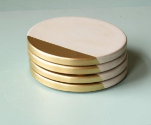 Handmade Mothers Day Gifts - Concrete Coasters with Gold