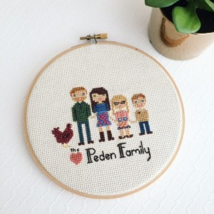 Handmade Mothers Day Gifts - Custom Family Portrait Hipster Mothers Day Mom Fun Gift Idea
