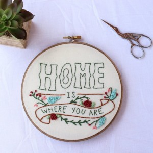 Handmade Mothers Day Gifts - Home is Where You Are Embroidery Hoop Art