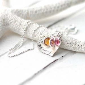 Handmade Mothers Day Gifts - Mother's Initials Heart Necklace - Silver